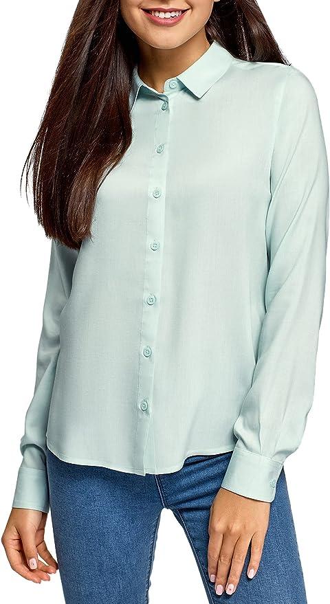 oodji Ultra Mujer Blusa de Viscosa con Cuello de Solapa