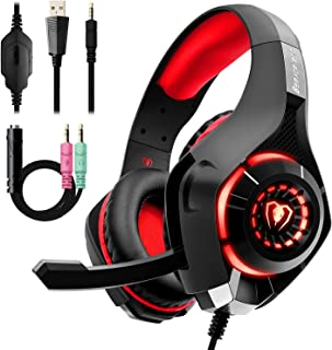 Gaming Headset for PC PS4, Beexcellent Stereo Surround Sound Gaming Headphones with Noise Cancelling Microphone Volume Control LED Lights for Xbox One Laptops Mac Smartphone (RED)