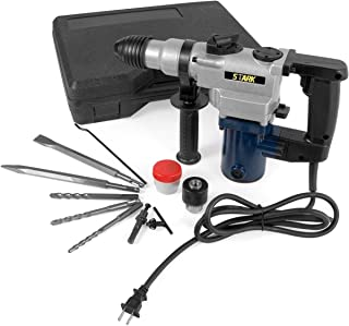 Stark 850W Electric SDS-Plus Rotary Hammer Drill Swivel Adjustable Handle Drilling Chisel Flat Bit Depth Rod w/Carrying Case
