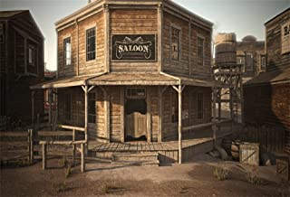 LFEEY 10x8ft Western Cowboy Saloon Backdrop Wild West Wood Architecture Vintage Wooden Building Barn Bank Photography Background Travel Portrait Photo Booth Props