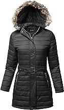 Awesome21 Women's Solid Faux Fur Lining Elastic Waist Belt Long Jacket