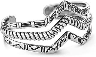 American West Sterling Silver Native Motif Triple Chevron Cuff Bracelet Size S, M, L or XL
