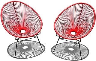 Harmonia Living HL-ACA-2LC-CAB 2 Piece Acapulco Lounge Chair Set, Candy Apple Red/Black