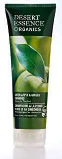 Desert Essence Green Apple & Ginger Shampoo - 8 Fl Ounce - Pack of 2 - Adds Volume, Strength & Shine - Moisturizer & Revitalizing - Coconut Oil - - Apple & Ginger Root Extract