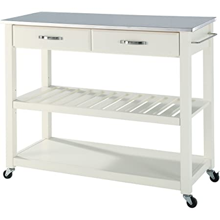 Amazon Com Crosley Furniture Full Size Kitchen Prep Cart With Stainless Steel Top White Kitchen Islands Carts