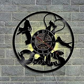 クリエイティブビニールレコード壁掛け時計 ウォールアート家の装飾キッズギフト クォーツムーブメント 30cm リモコンナイトライトクロック,B