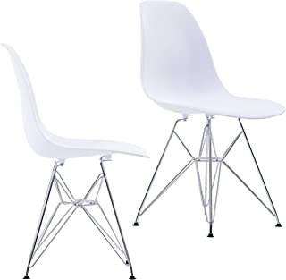 Porthos Home Midcentury Modern Eames Style DSR Dining Chairs with Chrome Finish Legs, Easy Assembly, Set of 2, White, One Size