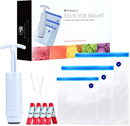 Sous Vide Bags BPA Free Reusable - 30 Reusable Sous Vide Bags + Sous Vide Clips,  Sous Vide Bag Sealer,  Vacuum Hand Pump - Reusable Storage Bags For Food - Vacuum Storage Bags For Food - Sous Vide Kit