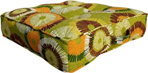 BOSSIMA Outdoor Indoor Chair Tufted Cushions Comfort Replacement Patio Seating Cushions Sun Flower Prints Yellow