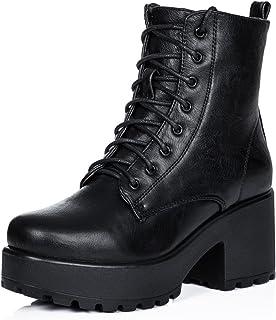 SPYLOVEBUY Shotgun Mujer Cordone Tacón Bloque Botes Bajas Zapatos