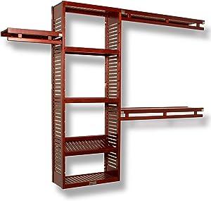 John Louis Home 12 in. Deep Solid Wood Simplicity Closet Organizer, Red Mahogany Finish