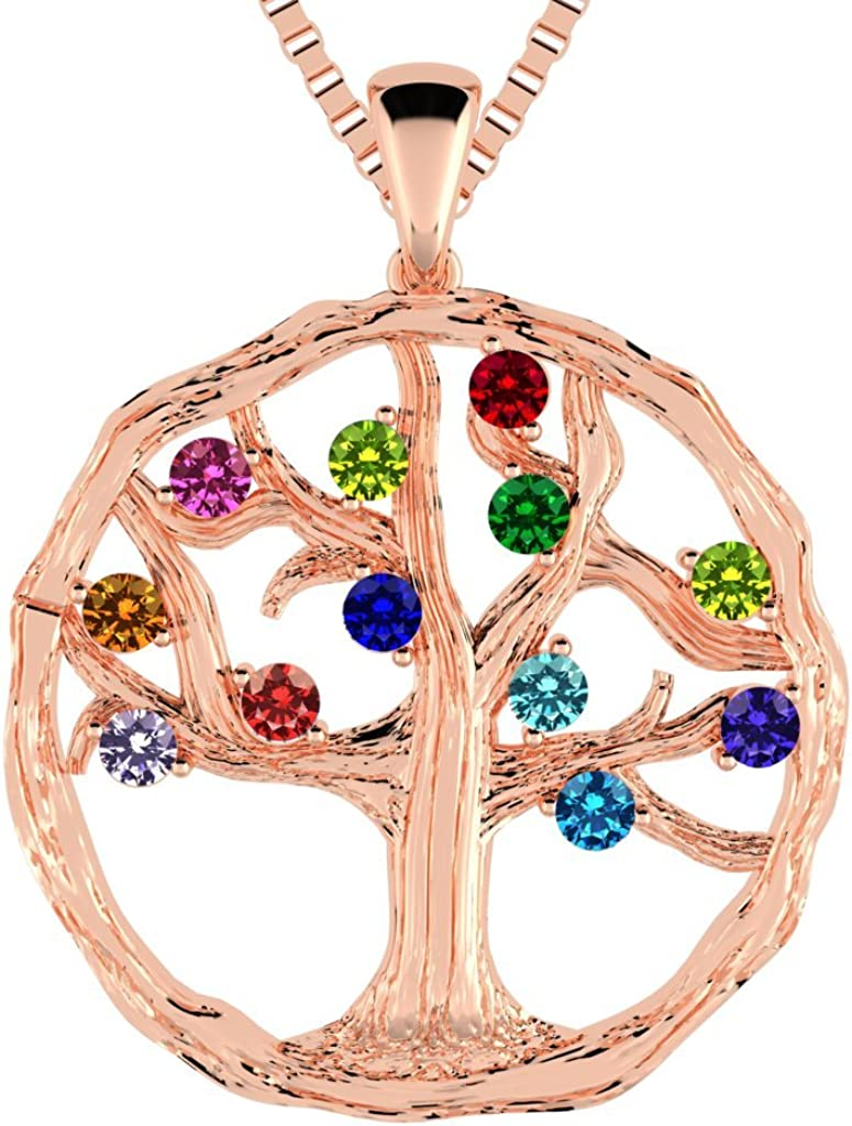 Mothers Tree of Life Birthstone Birth Overseas parallel import regular item w Simulated OFFicial Necklace 1-12