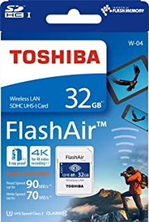 Cartão SD TOSHIBA Flashair Wi Fi 32GB 4K U3 Classe 10 W-04