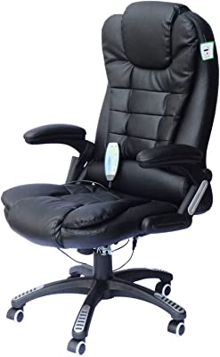 HOMCOM High Back Faux Leather Adjustable Heated Executive Massage Office Chair - Black