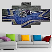 5 Piece Canvas Wall Art NFL Sports Dallas Cowboys Paintings Home Decor NFL Prints on Canvas,5 Panel Modern Artwork Giclee Picture for Living Room,Wooden Framed Stretched Ready to Hang(60''Wx32''H)