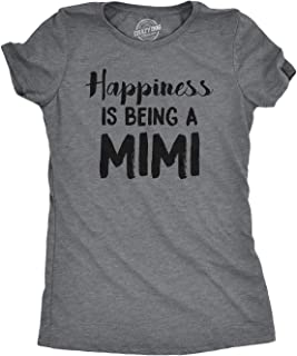 Womens Happiness is Being A Mimi Tshirt Cute Family Grandparent Tee for Ladies