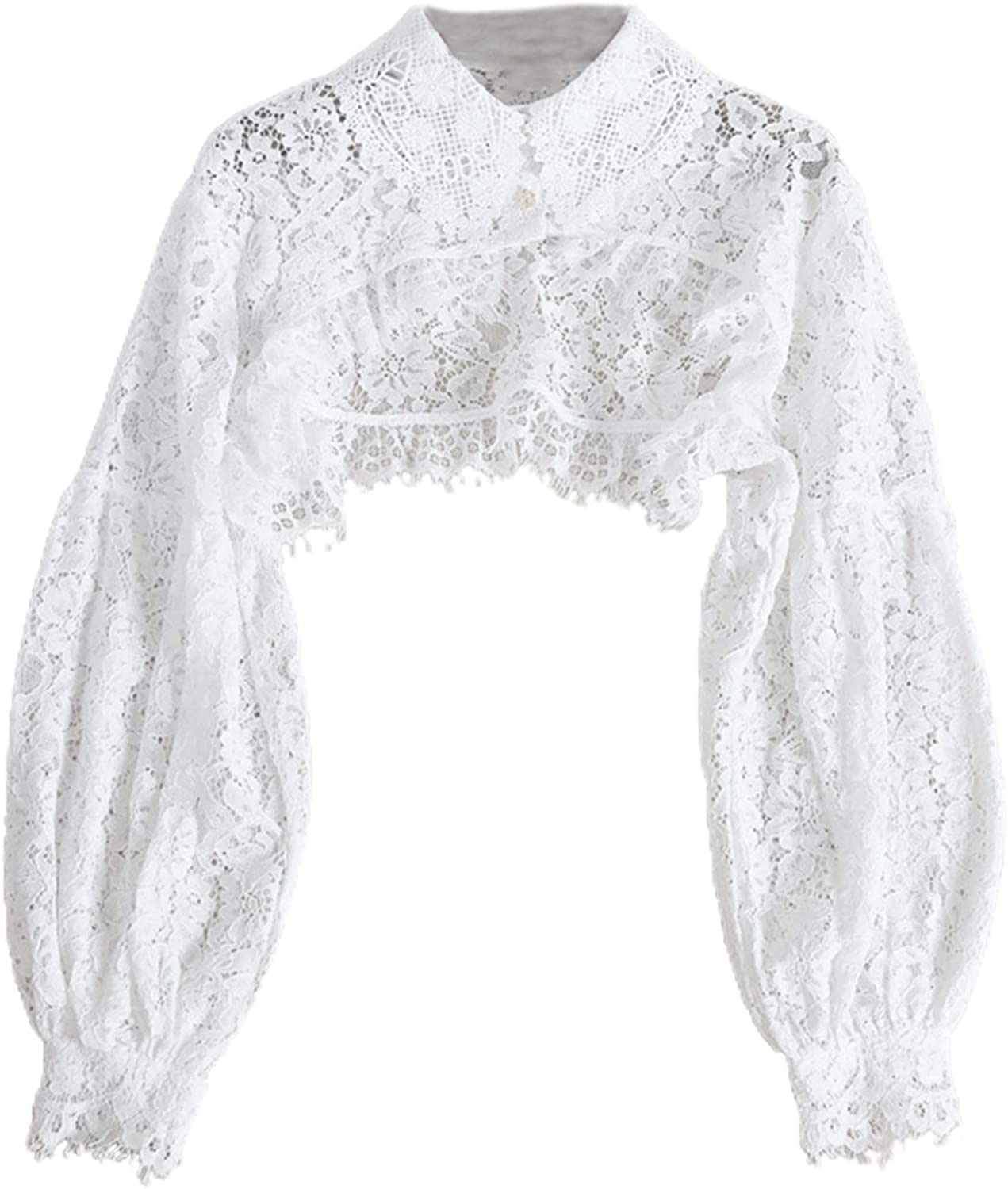 YOUSIKE Detacahble Blouse, Women Puff Long Sleeve Lapel Half Top Blouse Hollow Out Eyelash Floral Lace Detachable False Fake Collar Dickey Sweater Decorative Clothing Necklace