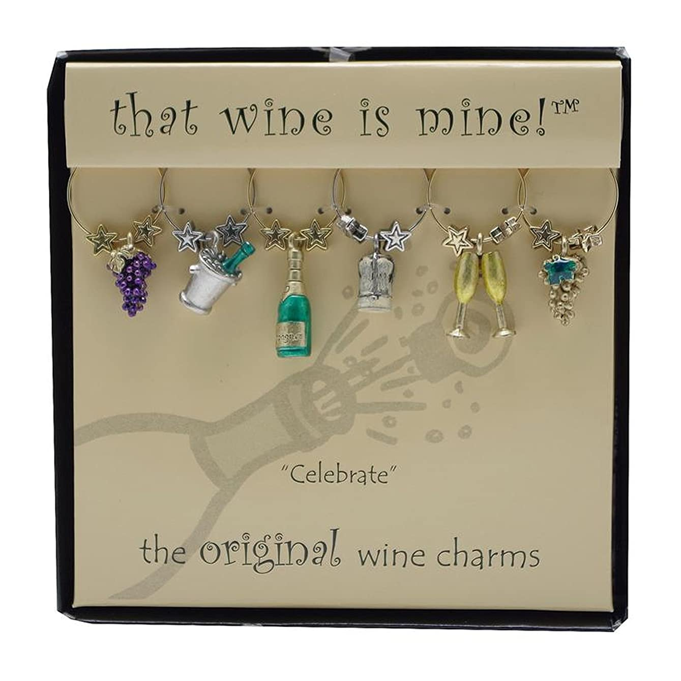 保護ビジュアル財産Wine Things WT-1413P Celebrate Wine Charms, Painted by Wine Things