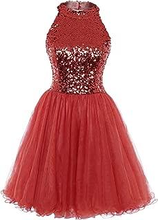 Homecoming Dress Cocktail Dresses Short Sequin Halter Open Back Evening Party Dress A line