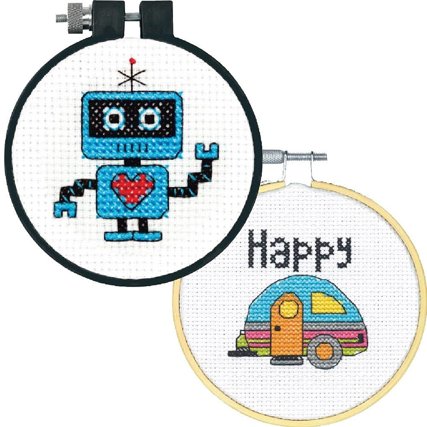2 Item Learn-A-Craft Cross Stitch Kits Bundle: Robot and Happy Camper (Each 3