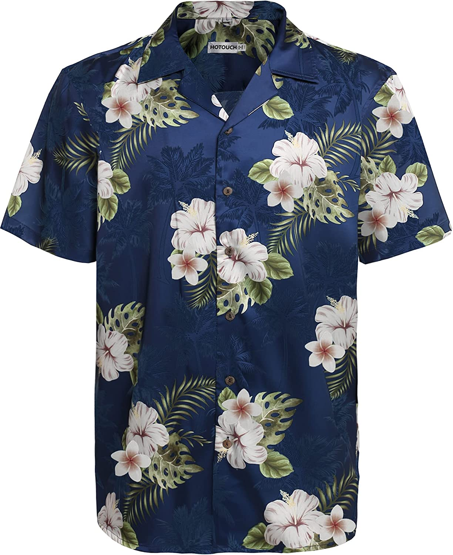 Hotouch Men's Hawaiian Aloha Shirt Short Sleeve Tropical Button Down Shirt Casual Vacation Collar Shirt