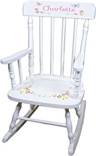 Personalized Pastel Butterfly Garland White Childrens Rocking Chair