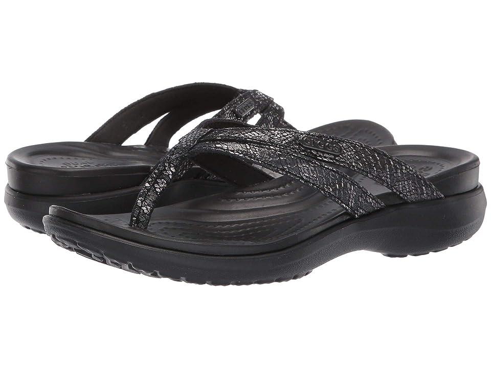 36fe0a83fa6e Crocs Capri Strappy Flip (Black Black) Women