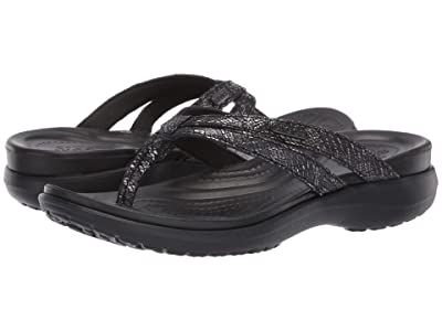 Crocs Capri Strappy Flip (Black/Black) Women