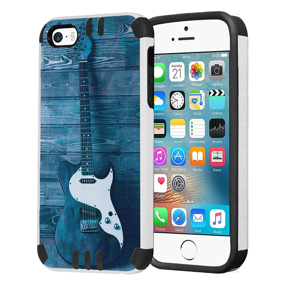 Capsule Case Compatible with iPhone 5, iPhone 5S, iPhone SE [Hybrid Dual Layer Slim Defender Armor Combat Case Black White] - (Guitar)