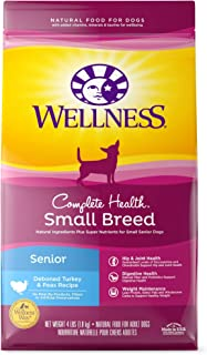 Wellness Complete Health Natural Dry Small Breed Senior Dog Food, Turkey & Peas, 4-Pound Bag