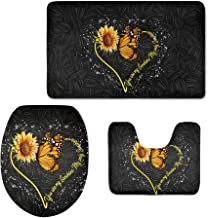Coloranimal Yellow Sunflower & Butterfly Design Flannel Soft Bath Rugs 3-Piece Sunflower Words Bathroom Mat + Non-Slip Doo...