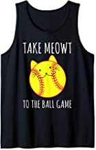 Funny Cat Lovers Softball Gifts Take Meowt To The Ball Game Tank Top