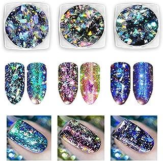 Nail Glitter Powder Chameleon Flakes Powder Nail Glitter Flakes Chameleon Nail Glitter Nail Art Decal Mirror Powder for Nails 3 Boxes