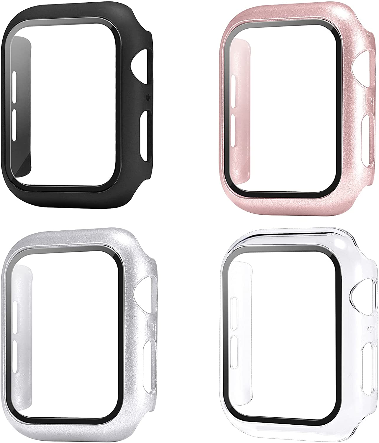 Sobrilli 4 Pack Case Tempered Glass Screen Protector Compatible with iWatch 38mm Series 3/2/1, Hard PC Bumper Case Protective Cover Frame Compatible with iWatch 38mm (Black/Rose Gold/Silver/Clear)