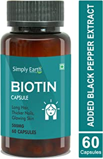 Simply Earth biotin 10,000mcg enhanced absorption with black pepper extract | Maximum Strength for Fast Hair Growth - Naturally Enhance Your Beauty, Skin & Nails (Pack of 1)