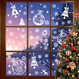 Benvo 190+ Pcs Christmas Decorations Holiday Window Clings Stickers Snowflake Window Decal Includes Christmas Tree, Bells, Snowflake, Candy Cane and More Ornaments for Xmas Festive Decorations