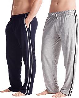 Mens Long Lounge Wear Pants Nightwear (2 Pack) Pyjama Bottoms Blue-Grey XL