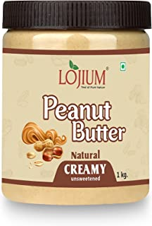 LOJIUM PEANUT BUTTER -NATURAL(CREAMY)| Unsweetened | Made with 100% Roasted Peanuts | 30% Protein | No Added Sugar | No Ad...