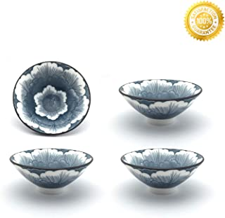 Teacups Set,QMFIVE,Chinese Traditional Blue and White Ceramic Mug of 4, 100cc3.5oz,Best Gift