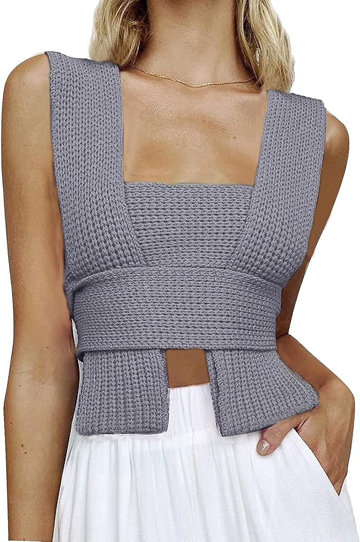 DYLSGCS Women Knit Sweater Vest Summer Irregular Solid Color DIY Sleeveless Off Shoulder Tank Top