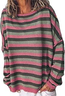 Women's Striped Crew-Neck Pullover Fashion Long-Sleeves Tshirt Tees T Shirts
