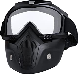 Motorcycle Helmet Riding Goggles Glasses with Removable Face Mask Detachable Fog-proof Warm Goggles Mouth Filter Adjustable Non-slip Strap Vintage Bullet Fight Motocross (White)
