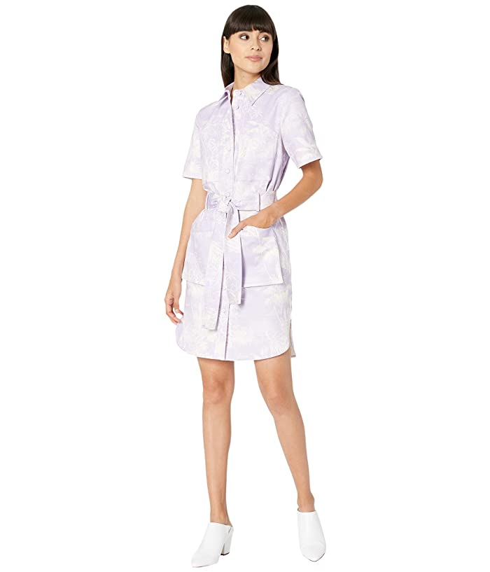 Adam Lippes  Belted Shirtdress (Palm/Lilac/Cream) Womens Dress