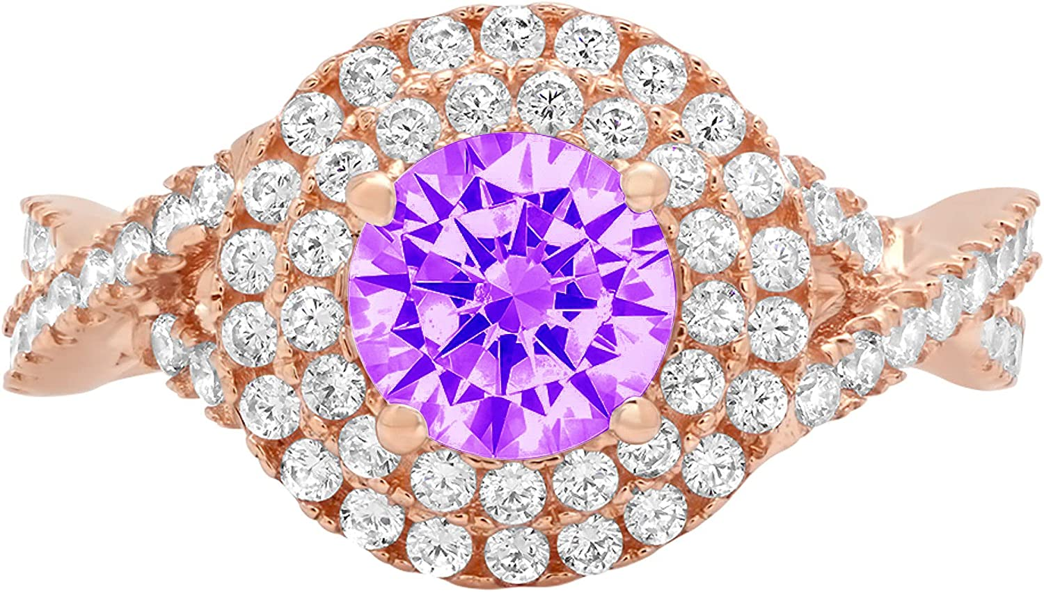 Clara Pucci 1.5 Brilliant Round Solitaire Outlet 67% OFF of fixed price ☆ Free Shipping Stunni halo Cut double