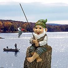 Fishing Garden Decoration,Cute Fishing Gnome Sitter ,Fishing Garden gnome Statue,Mini Fishing Dwarf Statue,Fishing Gnome,G...
