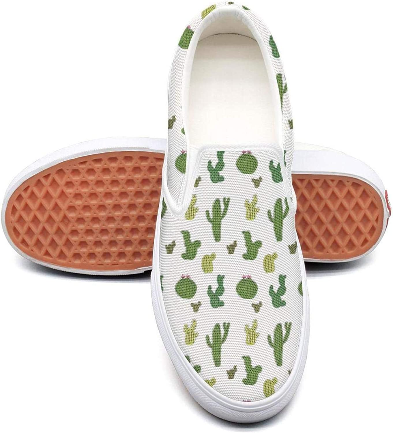 Sernfinjdr Women's Cactus Green Blossom Prints Fashion Casual Canvas Slip on shoes Original Cycling Sneaker shoes