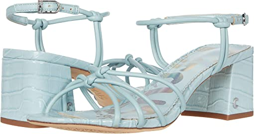 Powder Blue Fine Nappa/Caymans Croco