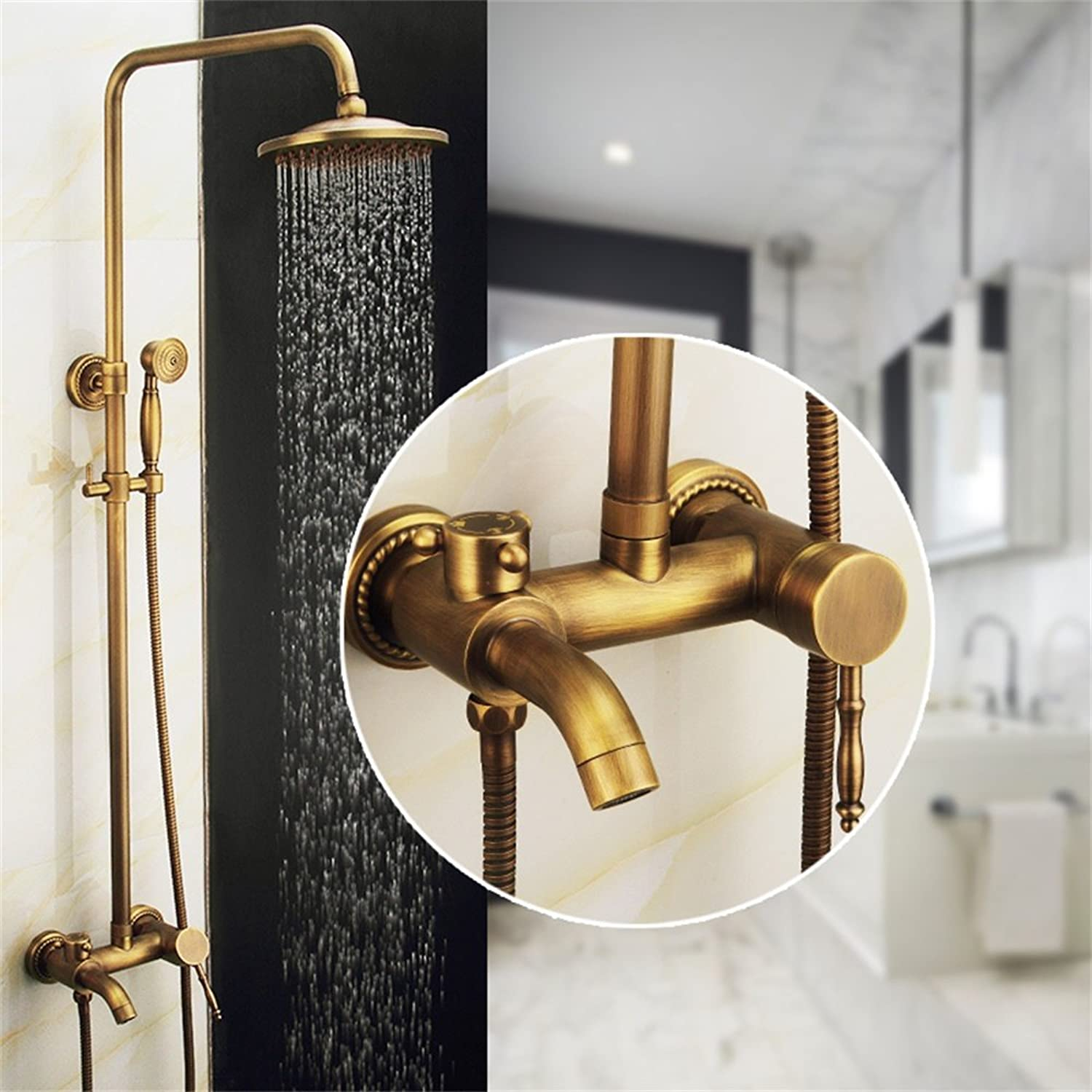 SMC shower set Antique Copper European Style Bathroom Toilet Lift Cooling & Hot Shower Set With Handheld Shower Head (color   A)