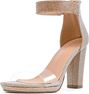 Women's Clear Lucite Vamp Strap Open Toe Zipper High Heel Sandal