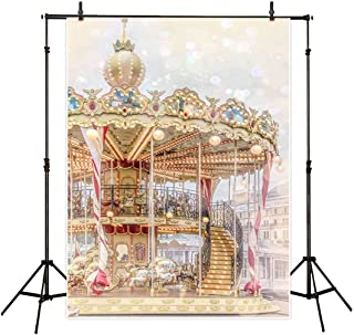 Allenjoy 5x7ft Carousel Backdrop Photography Backdrops Carnival Circus Background Xmas Decoration Photo Studio Booth Prop for Newborn Baby Shower Kids